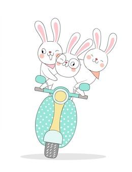 とても面白いウサギの運転スクーターを描きます。