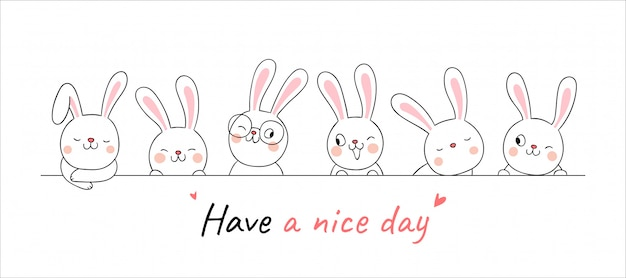 言葉でバナーかわいいウサギを描く素敵な一日を過ごす。