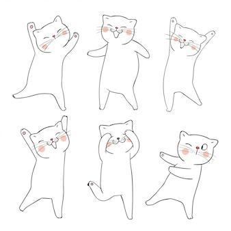 Нарисуйте каракули набор набросков кошки на белом.