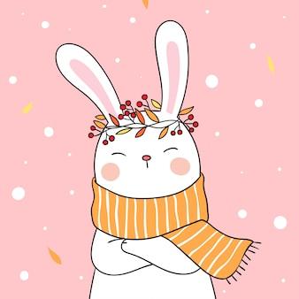 秋の美しさのスカーフとウサギを描きます。