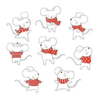 クリスマスと新年のためにネズミを描きます。