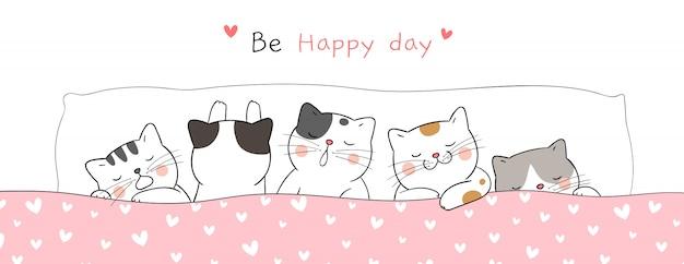 甘い夢を眠っているかわいい猫をバナーに描いてください。