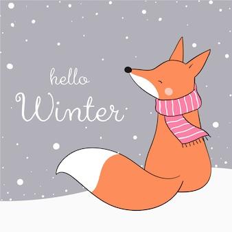 クリスマスに雪の中で座っているキツネを描いてください。
