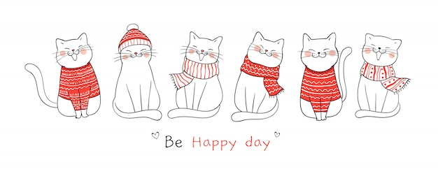 クリスマスと新年のバナーかわいい猫を描きます。