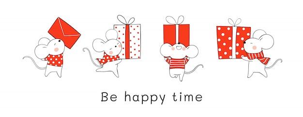 クリスマスと新年の赤いギフトボックスを保持しているかわいいネズミを描きます。