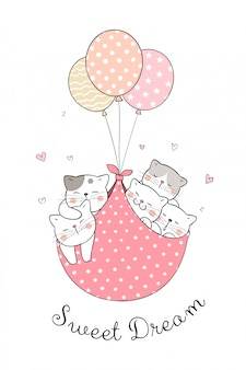 甘い風船で眠っている猫を描きます。