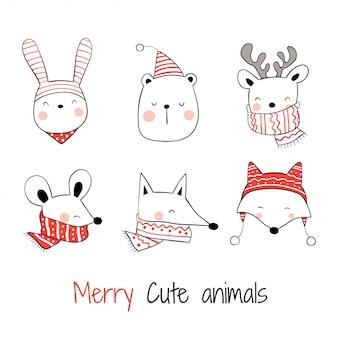 Нарисуйте коллекцию головы счастливых животных на рождество.
