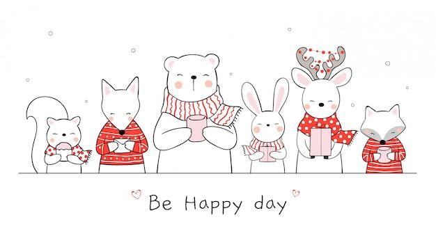 クリスマスと新年のために白で幸せな動物を描きます。