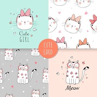 ファブリックテキスタイルの子供のためのシームレスなパターンかわいい猫。