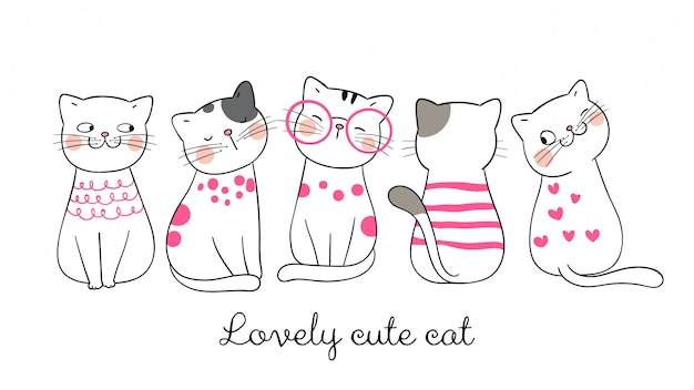面白い猫ピンクのパステルを描きます。