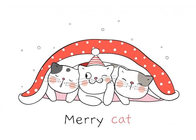 クリスマスと新年のために赤い毛布で猫を描きます。