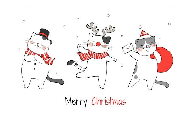 クリスマスと新年に面白い猫を描きます。