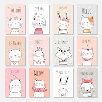 Нарисуйте набор поздравительных открыток животных на сладкую пастель.