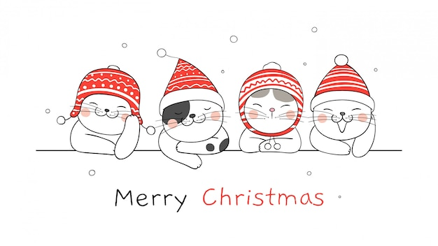 Счастливого рождества баннер с кошками