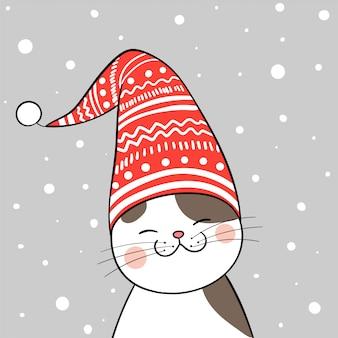 Кот с красной шляпой на рождество