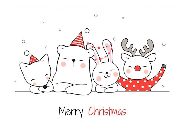 クリスマスのかわいい動物