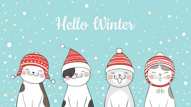 クリスマスに雪の中でバナーかわいい猫を描きます。