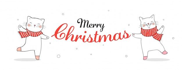 クリスマスに赤いスカーフでバナーかわいい猫を描きます。
