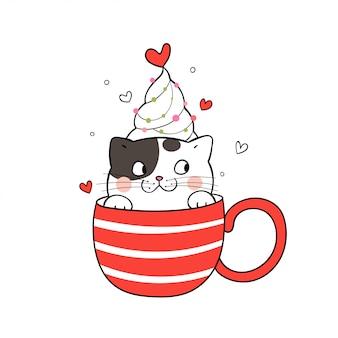 クリスマスの日に赤一杯のコーヒーでかわいい猫を描きます。