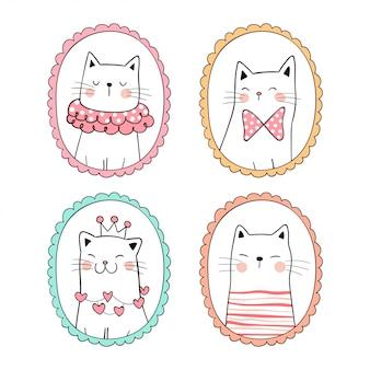 Нарисуйте коллекцию милый кот на белом.