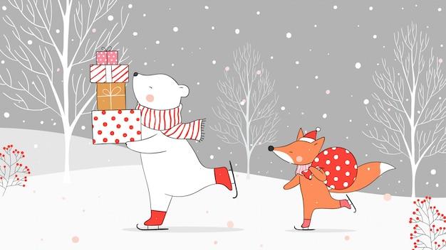 雪の中でバッグギフトでギフトとキツネを保持しているシロクマを描きます。