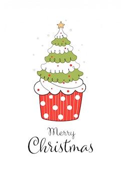 白で隔離される赤いカップケーキにクリスマスツリーを描きます。