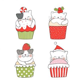 クリスマスにカップケーキで眠っているコレクションの猫を描きます。