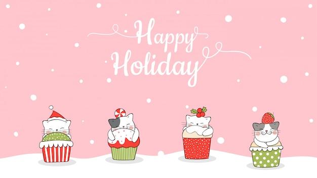 クリスマスのカップケーキにバナーかわいい猫を描きます。