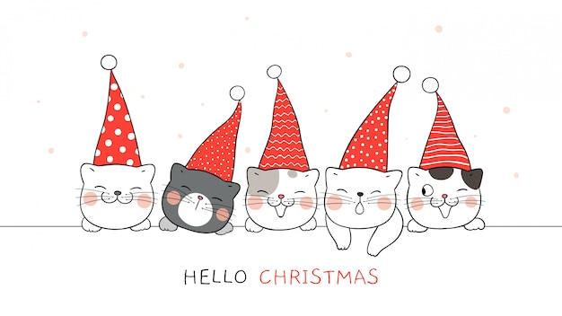Нарисуйте баннер милый кот в шляпе эльфа на рождество.