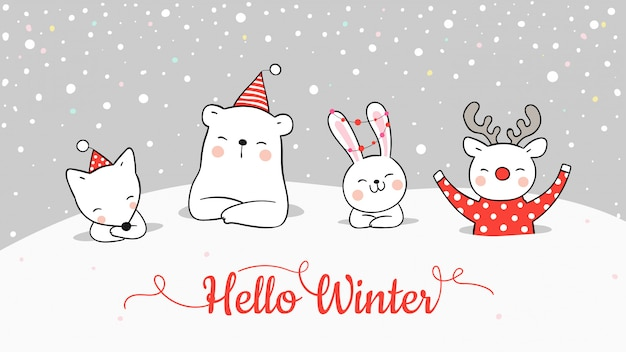 クリスマスと新年に雪の中でかわいい動物のバナーを描きます。