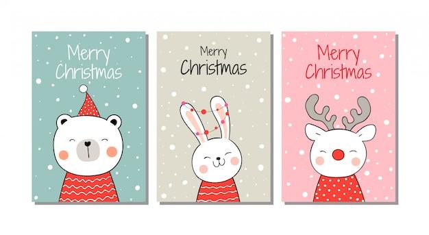 クリスマスと新年に雪の中でグリーティングカード動物を描きます。