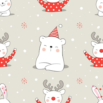 Нарисуйте бесшовные модели животных в снегу на рождество.