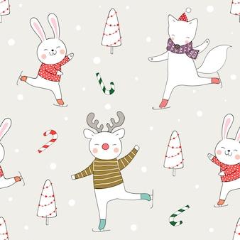 Нарисуйте бесшовные модели забавные игры животных в снегу на рождество.