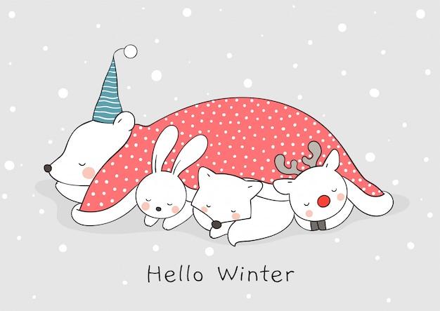 Нарисуйте милый сон животных в снегу на рождество и новый год.