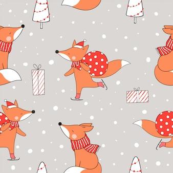 クリスマスに雪の中でシームレスパターンキツネを描きます。