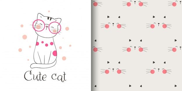 グリーティングカードとプリントのシームレスなパターンは、ファブリックテキスタイルの子供のための猫をカットしました。