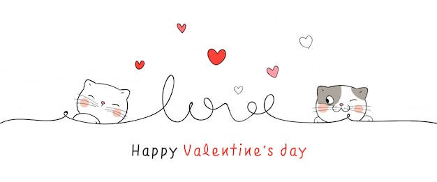 バレンタインデーに小さなハートのラインでカード猫を描きます。