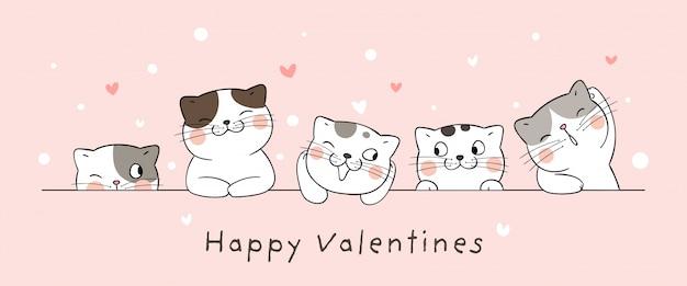 バレンタインデーに小さなハートでカード猫を描きます。