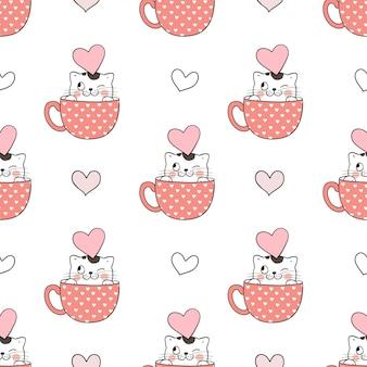 Бесшовные модели кошка в чашке на день святого валентина