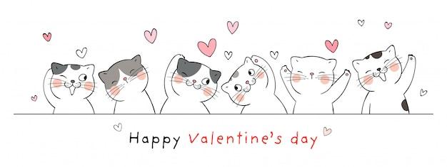 バレンタインのグリーティングカードの幸せな猫