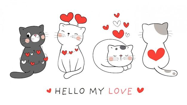 バレンタインの赤いハートのバナーかわいい猫を描きます。