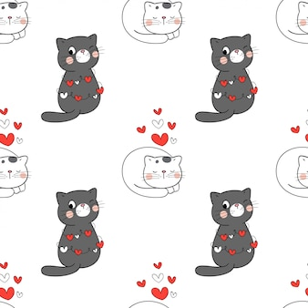 バレンタインのための白の心とのシームレスなパターン猫。