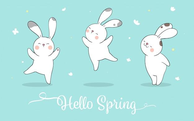 春のパステルブルーに幸せなウサギを描いてください。