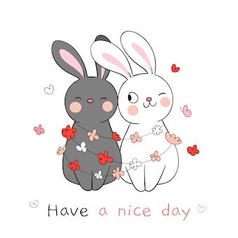 Нарисуйте цветок вокруг пара любви кролика на весенний сезон.