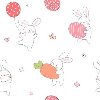 卵とニンジンの春のシームレスパターンウサギ。