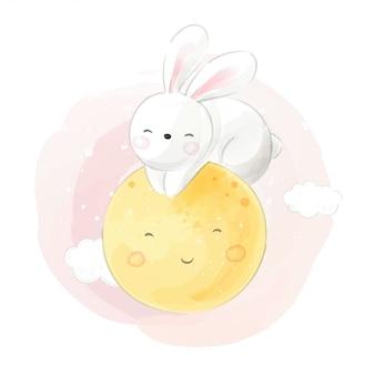 月の夢で寝ているウサギを描く水彩風。
