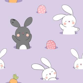 紫のパステルに卵とシームレスなパターンのウサギを描く