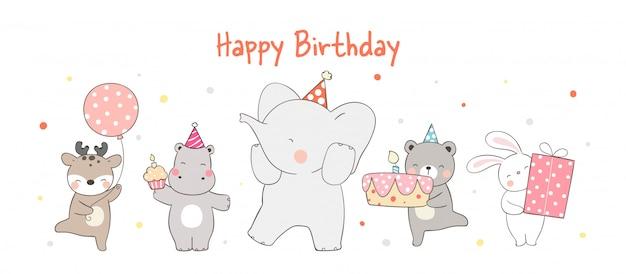 Смешная вечеринка животных на белом на день рождения.