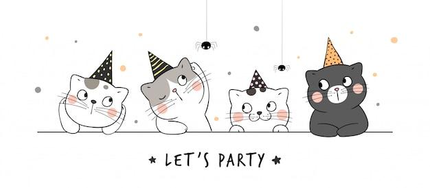 パーティーハットでバナー猫を描きます。ハロウィーンの日のため。