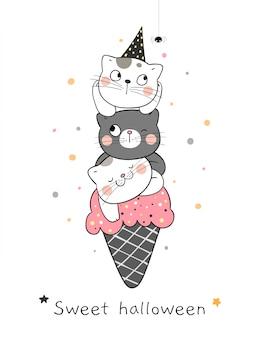 白のハロウィーンの日のためにアイスクリームコーンで猫を描きます。